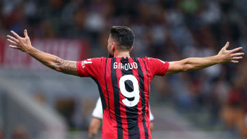 Olivier Giroud of Ac Milan  gestures during the Serie A...