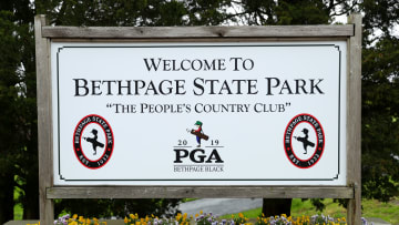 BETHPAGE, NEW YORK - MAY 13:  Signage is displayed during a practice round prior to the 2019 PGA Championship at the Bethpage Black course on May 13, 2019 in Bethpage, New York. (Photo by Warren Little/Getty Images)