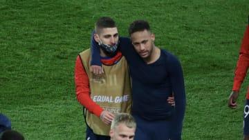 Verratti y Neymar después de un partido de Champions