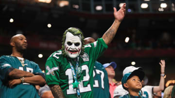 ATLANTA, GA - SEPTEMBER 15: A Philadelphia Eagles fan looks on during the second half of a game against the Atlanta Falcons at Mercedes-Benz Stadium on September 15, 2019 in Atlanta, Georgia. (Photo by Carmen Mandato/Getty Images)