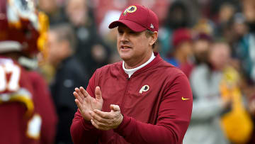 LANDOVER, MD - DECEMBER 30: Head coach Jay Gruden of the Washington Redskins looks on prior to the game against the Philadelphia Eagles at FedExField on December 30, 2018 in Landover, Maryland. (Photo by Will Newton/Getty Images)