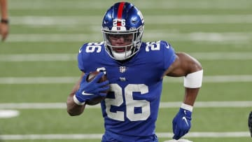 New York Giants running back Saquon Barkley showed off his gains in a recent workout video.