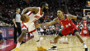Former Portland Trail Blazers wing Kent Bazemore defends Houston Rockets star James Harden