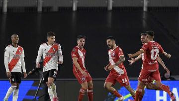 River Plate v Argentinos Juniors - CONMEBOL Libertadores Cup 2021 - Hauche yells his goal.