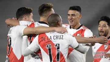 River Plate v Argentinos Juniors - Copa CONMEBOL Libertadores 2021 - River festeja el gol de Suárez.