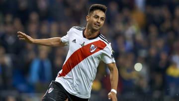 Pity Martínez celebrando su gol ante Boca Juniors