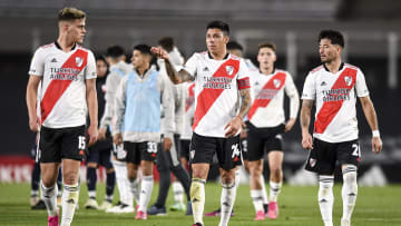 River Plate v Independiente - Professional League Tournament 2021 - Girotti, Enzo Pérez, Casco.