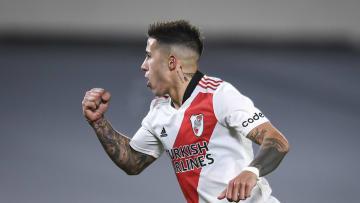 River Plate v Velez Sarsfield - Torneo Liga Profesional 2021 - Enzo Fernández celebra su gol.