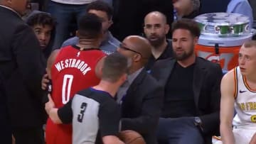Russell Westbrook and Klay Thompson engage in some trash talk