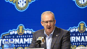 SEC Commissioner Greg Sankey at a press conference during the conference's men's basketball tournament in Nashville