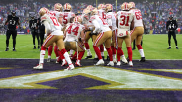 The San Francisco 49ers offensive huddle in a 2019 game against the Baltimore Ravens