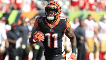 John Ross hauls in a pass against the San Francisco 49ers.
