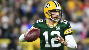 GREEN BAY, WI - OCTOBER 15:  Aaron Rodgers #12 of the Green Bay Packers drops back to pass during a game against the San Francisco 49ers at Lambeau Field on October 15, 2018 in Green Bay, Wisconsin.  Green Bay defeated the San Francisco 33-30.  (Photo by Stacy Revere/Getty Images)