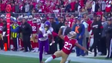Minnesota Vikings' receiver Stefan Diggs made his defender fall early in the game vs. the 49ers
