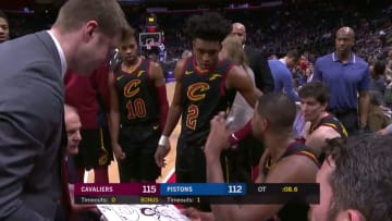 Cleveland Cavaliers center Tristan Thompson draws up an end of game play in the huddle