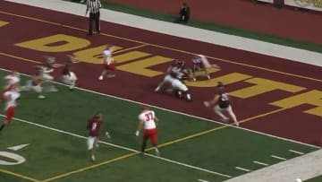 Minot State's Cory Carignan muffs kickoff in end zone, and returns it for touchdown.