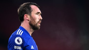Christian Fuchs playing for Leicester City in the Premier League