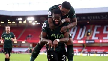 Ndombele celebrating his lob at Sheffield United