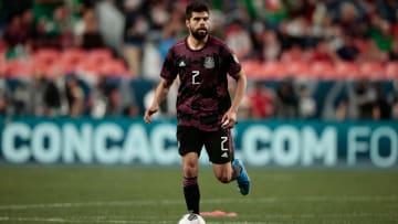 Jun 6, 2021; Denver, Colorado, USA; Mexico defender Nestor Araujo (2) controls the ball in extra