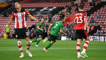 Neal Maupay celebrates his opener in the reverse fixture back in July