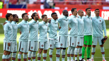 Portugal line up before a friendly with Spain
