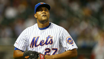 NEW YORK, NEW YORK - JUNE 14: Jeurys Familia #27 of the New York Mets reacts after giving up four runs in the top of the eighth inning against the St. Louis Cardinals at Citi Field on June 14, 2019 in New York City. (Photo by Mike Stobe/Getty Images)