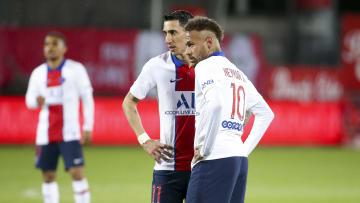 Neymar et Angel Di Maria face au Stade Brestois.