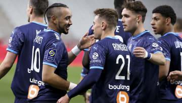 La joie des joueurs de l'OM après le succès à Reims.