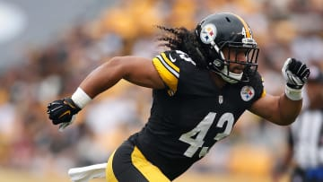 Former USC football safety Troy Polamalu with the Steelers.