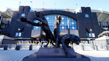 Statue of former Carolina Panthers owner Jerry Richardson in front of Bank of America Stadium in Charlotte