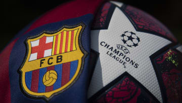 The FC Barcelona Club Badge and UEFA Champions League Ball