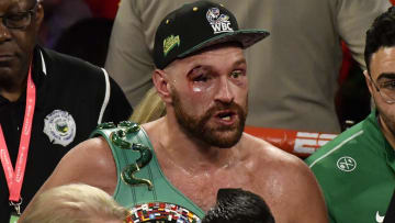 LAS VEGAS, NEVADA - SEPTEMBER 14: Tyson Fury reacts after the final bell in his heavy weight fight against Otto Wallin at T-Mobile Arena on September 14, 2019 in Las Vegas, Nevada. Fury won by an unanimous decision after the 12-round bout. (Gene Blevins/Getty Images)