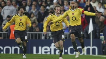 Thierry Henry celebrates his stunning goal at he Bernabéu