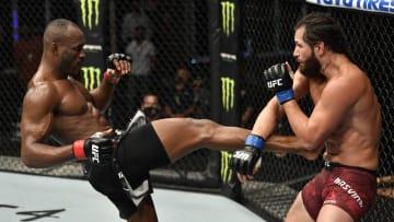 Kamaru Usman kicks Jorge Masvidal at UFC 251: Usman v Masvidal