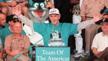 Jim Leyland celebrating the 1997 World Series.