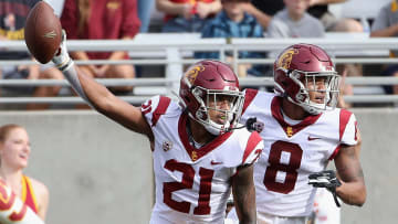 USC football defensive backs Isaiah Pola-Mao and Chris Steele.
