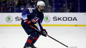 KOSICE, SLOVAKIA - MAY 12: Jack Hughes of the United States skates against France during the 2019 IIHF Ice Hockey World Championship Slovakia group A game between United States and France at Steel Arena on May 12, 2019 in Kosice, Slovakia. (Photo by Martin Rose/Getty Images)