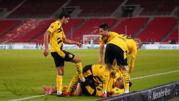 Borussia Dortmund celebrate a late winner vs Stuttgart at the weekend