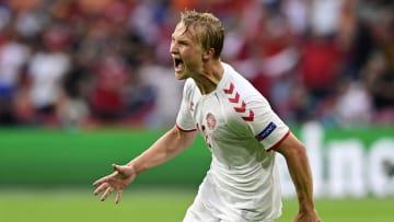 Dolberg scored a brace against Wales