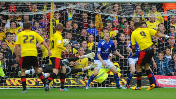 Troy Deeney fires in one of the most memorable goals in Championship playoff history