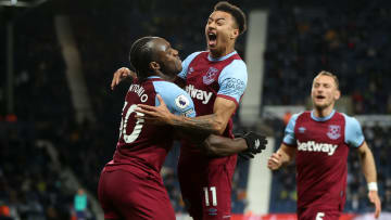Lingard celebrating West Ham's third goal at West Brom with Michail Antonio
