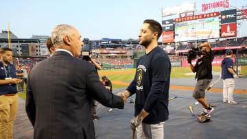 MLB commissioner Rob Manfred with Milwaukee Brewers' Ryan Braun