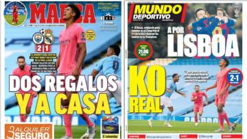 La eliminación del Real Madrid ante el Manchester City, protagoniza las portadas