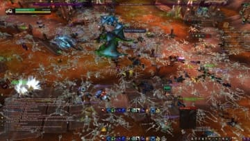 A gruesome sight for WoW standards — carpets of skeletons of recently dead players, killed by the unstoppable force of Corrupted Blood.