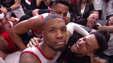 Damian Lillard after ending the Oklahoma City Thunder in the first round of the 2019 NBA Playoffs