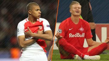 Kylian Mbappé avec l'AS Monaco, Erling Haaland avec le Red Bull Salzburg.