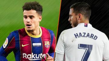 Le milieu offensif brésilien du Barça, Philippe Coutinho et le flop du Real Madrid Eden Hazard.