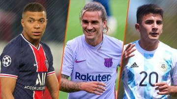 Kylian Mbappé, Antoine Griezmann et Thiago Almada.