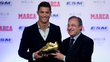 Florentino Perez presenting Cristiano Ronaldo with La Liga's Golden Boot in 2014