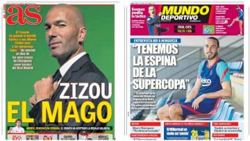 Las portadas de los diarios deportivos en España
